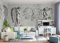 engel webt großhandel-Moderne kurze 3D Wallpaper Wandbilder Moderne Mode Engel Tapete Wohnzimmer Schlafzimmer 3D Vliestapete