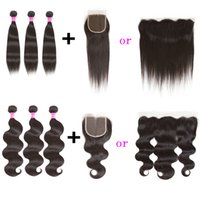 Wholesale ombre hair frontal for sale - Group buy peruvian virgin hair bundles body wave straight hair extension with x4 lace frontal or x4 lace closure and human hair weave