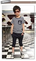 полосатые матросские шорты оптовых-New Casual Kids Toddler Boys Sailor Outfits Striped Anchor Short Sleeve Cotton Tops +Half Pants 2Pcs Set