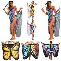 Wholesale wholesale bodycon - Irregular Butterfly Print Dress Women Backless Beach Party Dresses Boho Chic Bodycon Dress Beach Wear Beach Cover Up 5pcs OOA4712