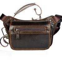 billetera de cuero para hombres al por mayor-Correa para hombres Bum Waist Bags Cow Leather Fanny Pack Bolsa de viaje del teléfono Pecho Hip Wallet Bag Male Casual Shoulder Messenger bags