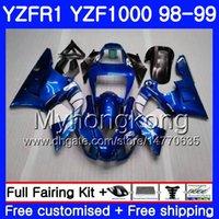 98 r1 verkleidung blau großhandel-Karosserie für YAMAHA Factory blue hot YZF R 1 YZF1000 YZF-R1 1998 1999 Rahmen 235HM.27 YZF-1000 YZF R1 98 99 YZF 1000 YZFR1 98 99 Verkleidung