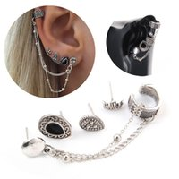 Gothic Bohemian Retro Style Vintage Style Crown Água Drop Pendant Chain Ear Studs Brincos Ethnic Jewelry Gift Grátis DHL D464L
