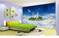 Wholesale Tea Sound - Seamless large mural painting 3d cartoon castle children 's room restaurant milk tea shop background wallpaper wallpaper wall painting