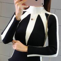camisolas do natal venda por atacado-Inverno Camisolas Mulheres 2017 Moda Camisolas coreano cor hit Pullovers Knitting capuz camisola do Natal Grosso puxar femme