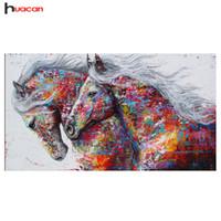 ingrosso dipinti floreali di peonies-vendita all'ingrosso 5D fai da te pittura diamante cavallo immagine di strass completo trapano piazza diamante ricamo vendita kit di artigianato mosaico animale