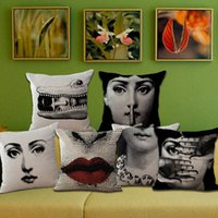 Wholesale vintage white pillowcases resale online - Fashion Vintage Fornasetti Art Beauty Face Skull Custom Made Pillow Cover Black And White Case Home Hotel Pillowcase