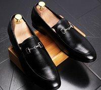 kutu gemi gelinlik toptan satış-Yeni Moda erkek Casual Loafers Hakiki Deri Slip-on Elbise Ayakkabı El Yapımı Sigara Terlik Erkekler Flats Düğün Parti Ayakkabı