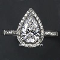 bagues de fiançailles poire achat en gros de-choucong poire coupe forme diamant 925 Sterling Silver bague de fiançailles de mariage Sz 5-11 livraison gratuite cadeau