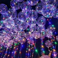 Wholesale Led Multicolor Glow Lights - Glowing Bobo Balloon Musical Handle Handheld LED Type Bubble Balloon Random Colored c223