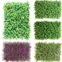kapalı plastik bitkiler toptan satış-40 * 60 cm Yapay Bitki Duvar Çim Simülasyon Çiçek Duvar Plastik Okaliptüs Yapay Çim Mat Kapalı Arka Plan Bitki Duvar Decoratio