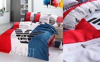 roupa de cama reativa de algodão venda por atacado-2019 de Alta qualidade de Impressão Reativa de algodão 4 pcs Conjunto de Cama incluem capa de edredon Lençol Fronha Lençóis Roupa de Cama Suprimentos