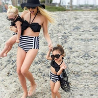 Wholesale Sexy Girls Bikini Suit - 2018 Sexy Family Matching Outfits Kids Women Family Matching New Swimsuit Women Low Waist Bikinis Set Mother Daughter Striped Bathing Suit