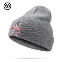güzel şapkalar toptan satış-Yeni Ürünler Moda Kadınlar Kış Şapkalar Erkek Kafatası Şapkalar Sıcak Hayvan Desenleri Güzel Flamingo Nakış Kızlar Unisex