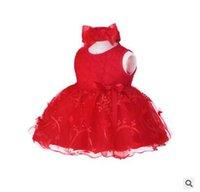 ingrosso vestito da bambino di 2years-Estate NewBorn neonate pizzo fiore vestito con fascia 100% cotone 1-2 anni vestito da partito vestiti del bambino Abiti per ragazze a244