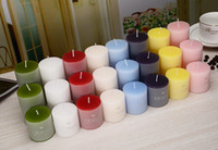 essentielle hochzeit großhandel-Romantische runde Aromatherapie Rauchlose Kerzen Weihrauch Ätherisches Öl Geburtstagskerze Candy Color Party Hochzeit Duftkerze Desodorierung