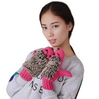 женские трикотажные перчатки оптовых-Womens Cartoon Hedgehog Gloves Thicken Winter Hand Warmer Knitted Wrist Mittens Womens Cartoon Winter Gloves