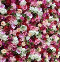 ingrosso fiori di piombo stradali-3D Artificial Flower Wall Sfondo di nozze New Ortensie Royal Rose prato pilastro finto fiore piatto Road Lead Home