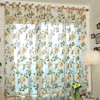 şakayak odası toptan satış-Şakayık Çiçek Pencere Perdeleri Oturma Odası Yatak Odası Kapı Odası Windows Tarama Perdesi Sarı Mor 19yj4 gg