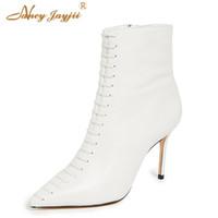dünne weiße krawatte großhandel-Weiße Frauen-Knöchel-Stiefel seitlicher Reißverschluss-Schuhe 10cm dünne Fersen-Herbst-weibliche große Größe 40 38 Büro-gebundener neuer Entwerfer