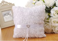 Wholesale pillow roses - Elegant Lace Wedding Ring Pillows Cheap Sale Rose Flowers Ring Pillow Wedding Supplier Favors