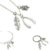 Wholesale wishbone necklaces - 12pcs Good Luck necklace keyring bracelet Wishbone necklace keyring adjustable bangles Feather Charm bracelet silver tone
