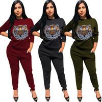 Wholesale yoga pants rhinestones online - women designer tracksuit long sleeve outfits hoodie legging piece set bodycon sweatshirt tights sport suit pullover pants hot f8
