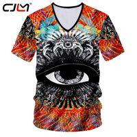 v neck undershirts sexy großhandel-CJLM Skull Tshirt Männer Lustige Print Magic Eyes 3D T-shirt Mann Hiphop Sexy Tiefem V-ausschnitt T-shirts Casual T Shirts Unterhemd 7XL