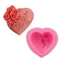 molde del corazón 3d al por mayor-3D de silicona rosa flor te amo amor jabón molde del corazón Fondant Cake Mould Cake Decoration ZA6891
