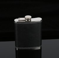 Wholesale leather wine flask - Hip Flask Stainless Steel Flagon Wine Pot Outdoor Portable PU Leather Cover Hip Flasks Whiskey Bottle GGA663 40PCS