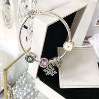 kristall herz armband großhandel-2018Pandora Frauen Silber Armreif Iconic Silber Charm Armband Adiant Herzen Charme Cerise Crystal Clear CZ