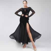 trajes de dança de salão mulheres venda por atacado-preto vestido de salão mulheres sexy de dança de salão vestido de competição vermelho vestidos de flamenco foxtrot tango rumba traje