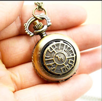 cadena de notas musicales al por mayor-Retro antiguo nota musical Steampunk colgante collar cadena cuarzo reloj de bolsillo 10 unids / lote regalo