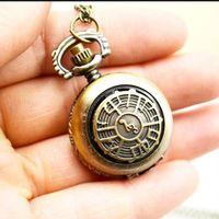 ingrosso catena di note musicali-Retro orologio da tasca del quarzo della catena della collana del pendente di Steampunk della nota musicale antica 10pcs / lot regalo
