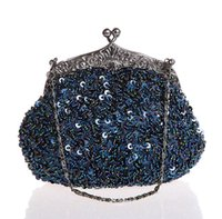 bolso azul con cuentas al por mayor-Azul marino con cuentas de lentejuelas con cuentas de boda bolso de noche bolso de embrague nupcial fiesta maquillaje bolso monedero envío gratis 03162-G