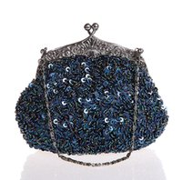 синяя свадебная сумка оптовых-Navy Blue Ladies' Beaded Sequined Wedding Evening Bag Clutch handbag Bridal Party Makeup Bag Purse Free Shipping 03162-G