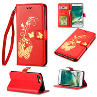 Wholesale Wallet Red Butterfly - Bronzing Butterfly Leather Case Bronzing Printing Wallet Phone Shell For iPhone 8 7 6 6S Plus 5 5S S7 Edge S8 Plus J3 J5 J7 Emerge 2017 2016