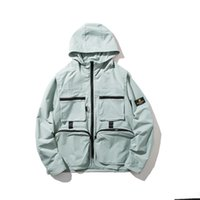 casacos mais legais para homens venda por atacado-Multi-bolso moda hip hop hip-hop com capuz legal homens e mulheres casuais cor sólida jaqueta juventude jaqueta de roupas masculinas