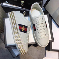 Wholesale platforms sneakers for women - Platform embroidery bee women small white shoes Fall fashion flat casual shoes sneakers For men women walking shoes 12704 ..