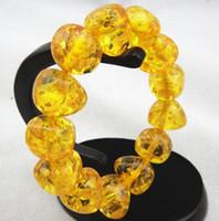 porzellan armband wachs großhandel-Wachsarmband, Armband aus bernsteinfarbenem Bienenwachs