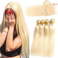 blonde seidenverschlüsse großhandel-Brasilianisches reines Haar 613 Blond 3 Bundles mit Verschluss Top Lace Closure mit Seidengerader Haarbündel