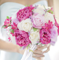 bouquets personnalisés achat en gros de-Bouquets de mariée pour mariage personnalisé, roses roses mauves, bouquets coréens, bouquets de mariée, pour stockage permanent