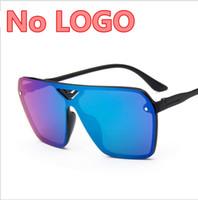 Wholesale reflective ladies sunglasses resale online - one piece Big Brand Sunglasses Women Men High Quality Colorful Sunglass Ladies UV400 Mirror Eyewear Summer Fashion Reflective Sun Glasses