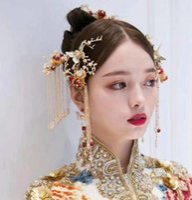 ingrosso cravatte dei capelli cinesi-Xiu si veste testa ornamento capelli da sposa, cravatta a farfalla cinese antico rosso perla, accessori copricapo da sposa da donna