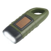 Wholesale led rechargeable emergency torch light - Portable Emergency Hand Crank Dynamo Solar Flashlight Rechargeable LED Light Lamp Charging Powerful Torch Lantern For Outdoor Camping