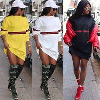 Wholesale mini sweaters - Fashion sexy women sweater dresses stripes stitching woman clothes club party mini white dress plus size women clothing casual dresses