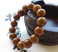 pulseiras de jade amarelo venda por atacado-Certified Natural Um Jade Jadeite Marrom Amarelo 13mm Bead Beads Bangle Bracelet