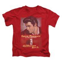 elvis posteri toptan satış-Elvis Presley Boys 'Jailhouse Kaya Posteri Çocuk T-shirt Kırmızı Rockabilia Rahat tişörtlü Rahat Kısa Kollu Baskı% 100% Pamuk