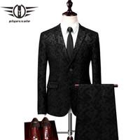 pantalón de abrigo azul oscuro al por mayor-Plyesxale Hombre Trajes de Boda 2018 Últimos diseños de pantalón de abrigo Trajes de hombre informal Slim Fit Ropa de fiesta para hombre Negro Azul oscuro 5XL 6XL Q53