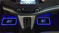 hafif paspaslar toptan satış-PAMPSE 4 adet Araba Iç Atmosfer Lamba Paspaslar LED Dekoratif Lamba APP kontrol Uzaktan Kumanda Ile Renkli yanıp sönen Işık RGB